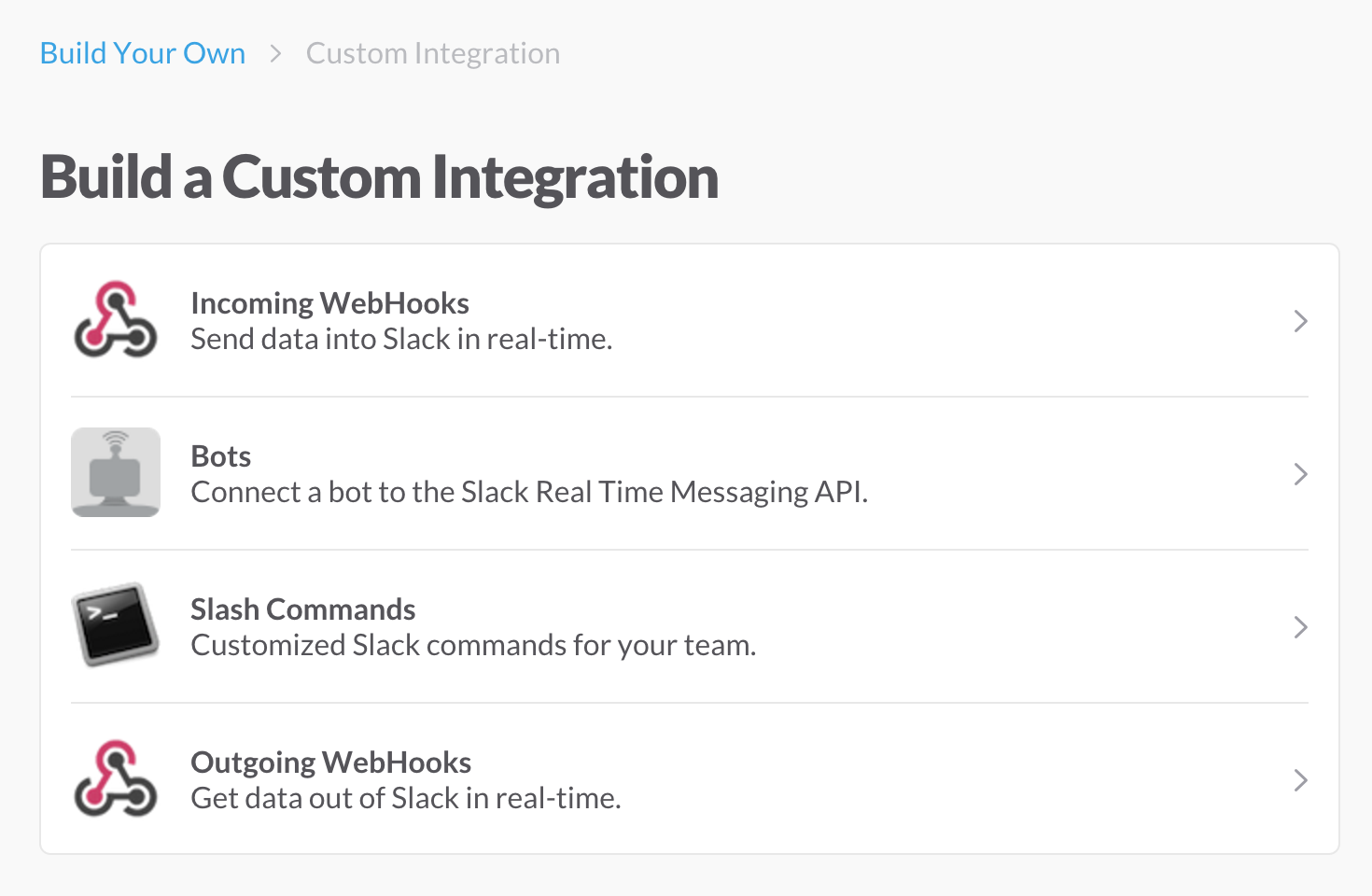 Slack Custom Integrations Panel
